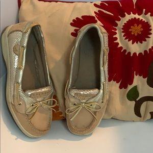 SPERRY Angel Fish Big Girls Shoes SZ3.5 M Gold/Tan